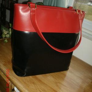 Handbags - WOMEN'S VINYL RED & BLACK TOTE  CARRY-ALL SHOULDER